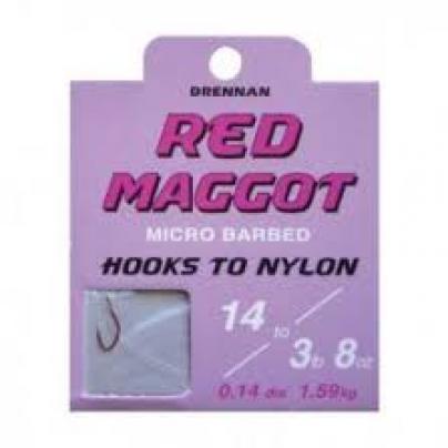 Drennan Red Maggot Barbed Hooks To Nylon